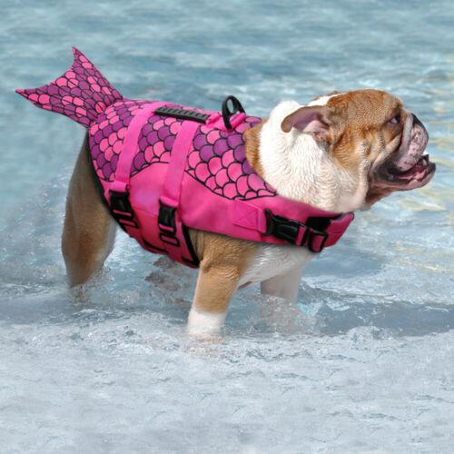 Rettungsweste für Hund Schwimmhilfe Hundeweste mit Bergegriff Grau Rosa S M L 9